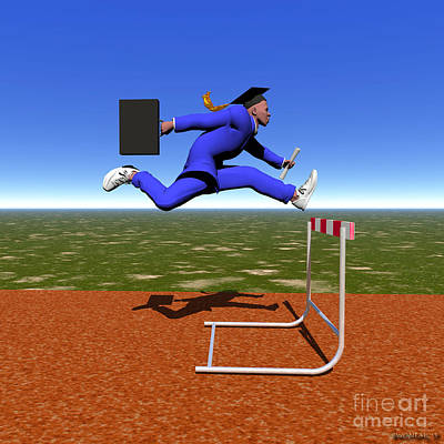 Diploma Digital Art - Clearing The Hurdle by Walter Oliver Neal