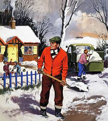 Garden Drawing - Clearing The Snow by English School
