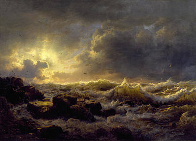 Andreas Achenbach Painting - Clearing Up. Coast Of Sicily by Andreas Achenbach