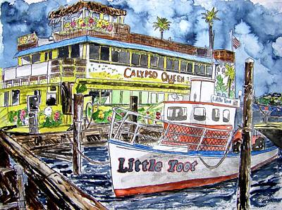 Watercolor Painting - Clearwater Florida Boat Painting by Derek Mccrea