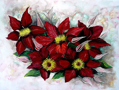 Clematis Painting - Clematis Niobe by Karin  Dawn Kelshall- Best