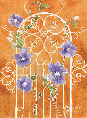 Painting - Clematis On Wrought Iron Trellis by Conni Schaftenaar