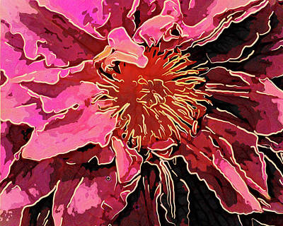 Fuzzy Digital Art - Clematis Up Close And Personal by Leslie Montgomery