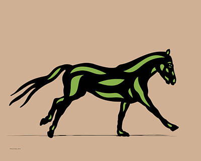 Digital Art - Clementine - Pop Art Horse - Black, Geenery, Hazelnut by Manuel Sueess