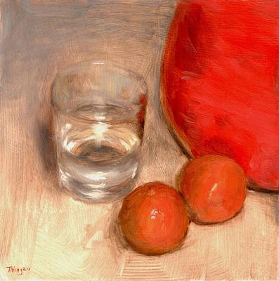 Painting - Clementines And Water Glass by Thimgan Hayden