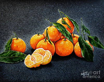 Still Life With Tangerines Painting - Clementines by Vita Shtefaniuk