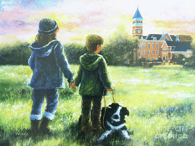 Clemson Wall Art - Painting - Clemson Kids Big Sister Little Brother by Vickie Wade