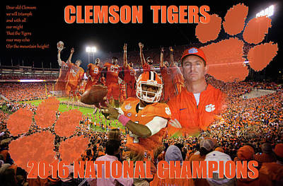 Digital Art - Clemson National Champs by Lynne Jenkins