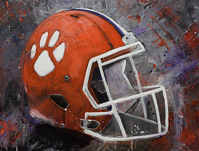 Painting - Clemson Tigers Football Helmet Original Painting by Gray Artus