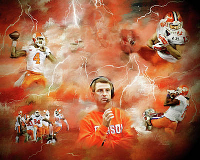 Clemson Mixed Media - Clemson Tigers National Champions by Dwayne  Graham