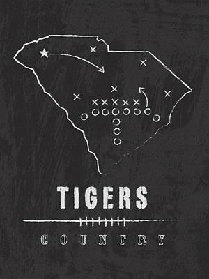 Clemson Tigers / Ncaa College Football Art / South Carolina Art Print by Damon Gray
