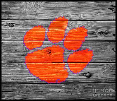 Clemson University Tigers Logo On Weathered Wood Art Print
