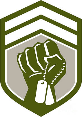 Clenched Fist Dogtag Crest Retro Art Print