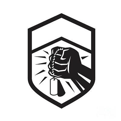 Tag Digital Art - Clenched Fist Holding Dogtag Crest Retro by Aloysius Patrimonio