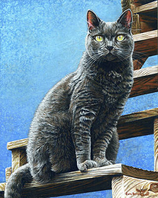 Prussian Blue Painting - Cleo by Cara Bevan