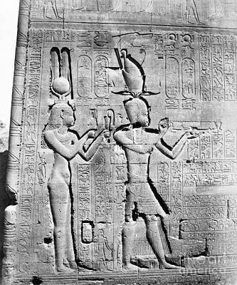 Hathor Photograph - Cleopatra And Caesarion, Temple by Science Source