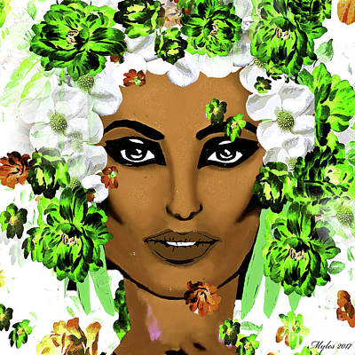 Painting - Cleopatra With Flowers by Saundra Myles