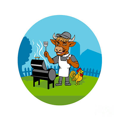 Clergy Digital Art - Clergy Cow Minister Barbecue Chef Rooster Caricature by Aloysius Patrimonio