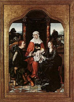 Cleve Joos Van St Anne With The Virgin And Child And St Joachim Art Print