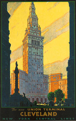 Cuyahoga Digital Art - Cleveland - Vintage Travel by Georgia Fowler