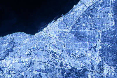 Cleveland Abstract City Map Satellite Image Blue Detail Art Print by Frank Ramspott