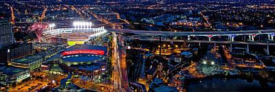 By Jackie Photograph - Cleveland At Night Panoramic by Jackie Sajewski