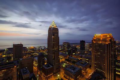 By Jackie Photograph - Cleveland At Twilight by Jackie Sajewski