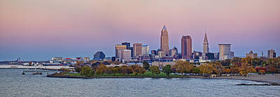 Best Photograph - Cleveland Autumn Sunset Skyline Panorama by Marcia Colelli