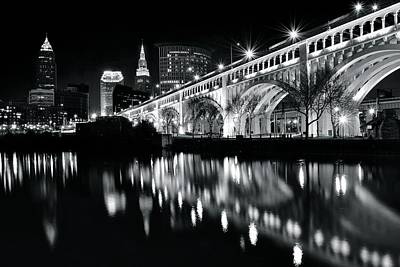 Photograph - Cleveland Black And White Reflection by Frozen in Time Fine Art Photography