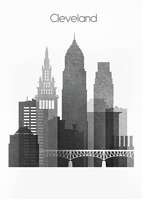 City Digital Art - Cleveland Black And White Skyline by Dim Dom