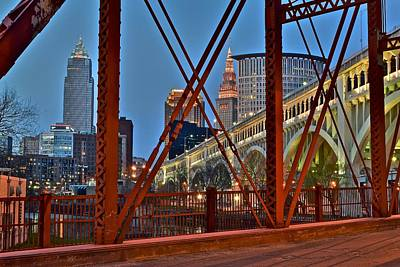 Abstract Skyline Rights Managed Images - Cleveland Bridge View Royalty-Free Image by Frozen in Time Fine Art Photography
