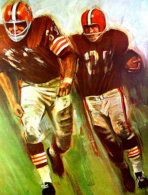Cleveland Browns Football Painting - Cleveland Browns 1965 Cb Helmet Poster by Big 88 Artworks