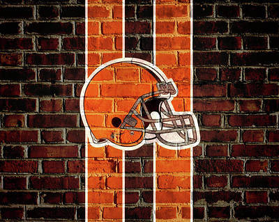 Mixed Media - Cleveland Browns Brick Wall by Dan Sproul