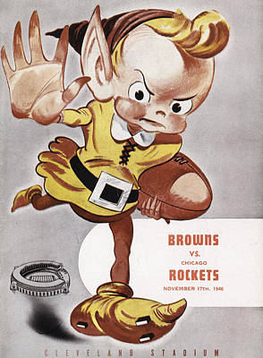 Cleveland Browns Vintage Program Art Print by Joe Hamilton
