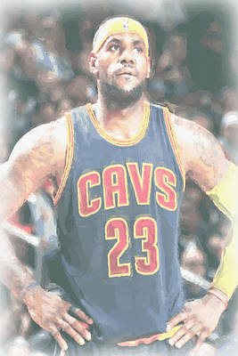 Cleveland Cavaliers Lebron James 5 Print by Joe Hamilton