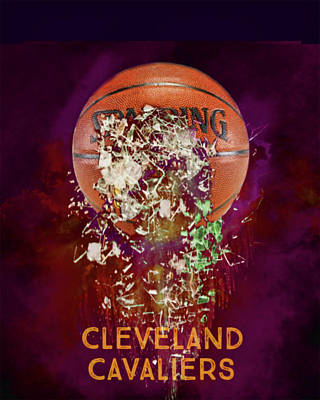 Digital Art - Cleveland Cavaliers Shattered Basketball by Colleen Taylor