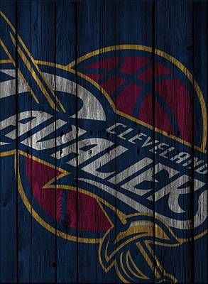 Cleveland Cavaliers Wood Fence Art Print by Joe Hamilton