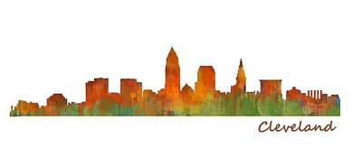 Desert Painting - Cleveland City Skyline Hq V1 by HQ Photo
