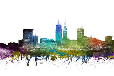 Rainbow Colors Drawing - Cleveland Cityscape 01 by Aged Pixel