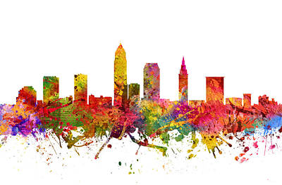 Rainbow Colors Digital Art - Cleveland Cityscape 08 by Aged Pixel