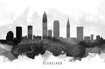 Down Town Painting - Cleveland Cityscape 11 by Aged Pixel