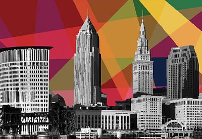 Mixed Media - Cleveland Geometric Skyline by Carla Bank