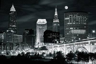 Municipal Photograph - Cleveland Iconic Night Lights by Frozen in Time Fine Art Photography