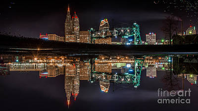 Cleveland In A Puddle Art Print by Frank Cramer