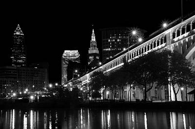 Photograph - Cleveland In Black And White by Ann Bridges