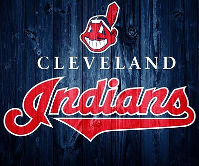 Old Mixed Media - Cleveland Indians Barn Door by Dan Sproul