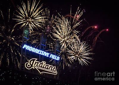 Photograph - Cleveland Indians Baseball Fireworks by Janice Rae Pariza