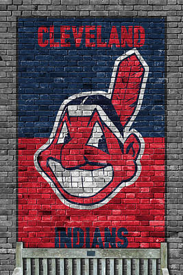 Bat Painting - Cleveland Indians Brick Wall by Joe Hamilton