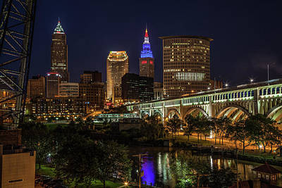 Photograph - Cleveland Nightscape by Lon Dittrick