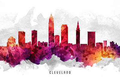 Cleveland Ohio Cityscape 14 Art Print by Aged Pixel